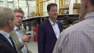 Interior shots Nick Clegg Deputy Prime Minister leader of Liberal Democrat Party visiting Airbus HQ in Filton Bristol on April 22 2015 in Bristol...