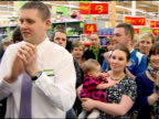 interior shots Nick Clegg walks into Asda supermarket meeting staff posing for photocall Nick Clegg has launched his party's election manifesto...