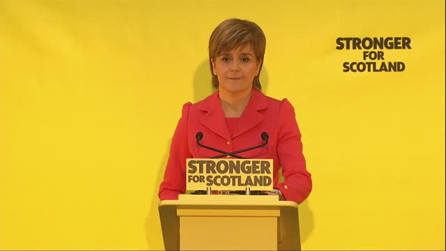 Interior shots Nicola Sturgeon leader of SNP speaking at SNP Manifesto launch Quotes 'We will not do any deals that would put the Tories into power...