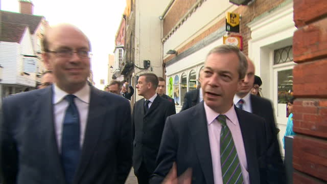 Interior shots Nigel Farage UKIP leader and Mark Reckless UKIP candidate visiting book store Exterior shots Farage Reckless on campaign walkabout in...