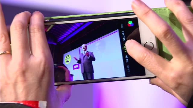 Interior Shots Nigel Farage UKIP Leader arriving and addressing UKIP S Party Conference in Margate delegates standing ovation UKIP members cheering...