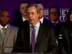 Interior shots Nigel Farage UKIP leader speaking at UKIP rally about immigration policies on March 04 2015 in London England