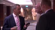 Interior shots Nigel Farage UKIP leader standing in corridor talking with Paul Nuttall UKIP deputy leader on May 08 2014 in London England