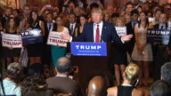 Interior shots of a speech by Donald Trump during a rally in New York he answers questions on 'making America great' and the inclusion of Carly...
