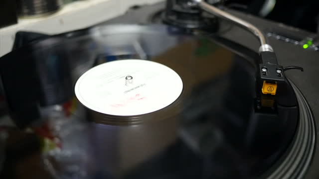 Interior shots of a vinyl record spinning on a record turntable NB AUDIO IS MUTE TO AVOID MUSIC CLEARANCE ISSUES on December 29 2015 in Stoke on...