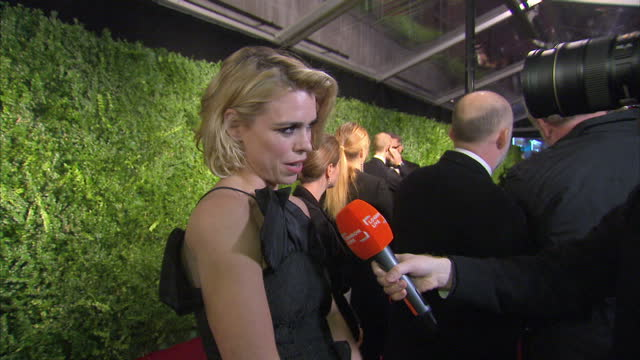 Interior shots of actress Billie Piper speaking to reporters on the red carpet at the Evening Standard Theatre Awards>> on November 30 2014 in London...