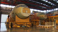 Interior shots of Airbus A320 planes being built in a factory hangar in Tianjin Aircraft manufacturing in China on January 13 2014 in Tianjin China