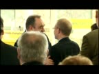 interior shots of Alex Salmond greeting supporters after speech