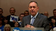 Interior shots of Alex Salmond's speech saying 'This is our opportunity of a lifetime and we must seize it with both hands' on September 17 2014 in...
