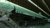 Interior shots of an Aeros blimp sitting in a hangar in Montebello California An Aeros blimp sits in a hangar while under construction