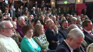 Interior shots of an audience of Labour supporters listening to a speech by leader Ed Miliband and applauding as he departs on April 02 2015 in...