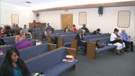 Interior shots of an evangelical church service with the pastor delivering a sermon and church goers in pews with bibles on 4 November 2016 in Mesa...