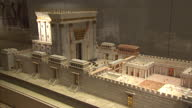 Interior shots of an intricate model of Temple Mount displayed within Temple Mount itself Interior close shots of Temple Mount artwork Exterior and...
