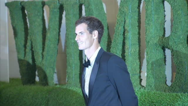 Interior shots of Andy Murray arriving with his girlfriend Kim Sears on the red carpet at the Wimbledon champions dinner at InterContinental Park...
