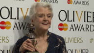 Interior shots of Angela Lansbury posing with her Olivier Award for Best supporting Actress on April 12 2015 in London England
