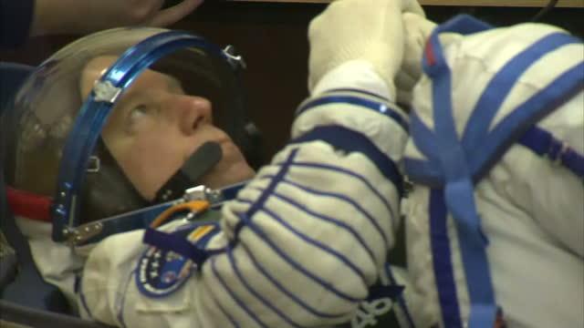 Interior shots of astronaut Timothy Kopra having his pressure suit checked at Baikonur Cosmodrome on December 15 2015 in Zhezkazgan Kazakhstan