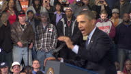 Interior shots of Barack Obama making speech on US budget cuts to workers at Newport News Shipbuilding Barack Obama gives speech to shipbuilding...