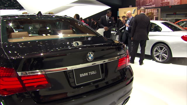 Interior shots of BMW cars on the BMW stand at Detroit Motor Show including a 750iL on January 20 2015 in Detroit Michigan