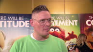 Interior shots of British fashion designer Giles Deacon giving an interview at The Muppets premiere at The Mayfair Hotel on January 26 2012 in London...