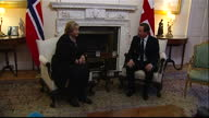 Interior shots of British Prime Minister David Cameron and Norwegian Prime Minister Erna Solberg sitting down together for bilateral talks at Number...
