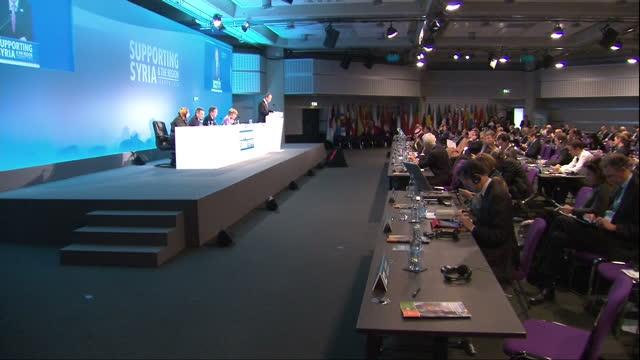 Interior shots of British Prime Minister David Cameron Germon Chancellor Angela Merkel UN General Secretary Ban KiMoon and guest speakers holding...