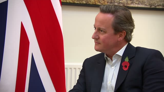Interior shots of British Prime Minister David Cameron meeting with the Finnish Prime Minister Juha Sipila and the Latvian Prime Minister Laimdota...