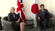 Interior shots of British Prime Minister Theresa May sat with Japanese Prime Minister Shinzo Abe for a photocall whilst at the United Nations General...