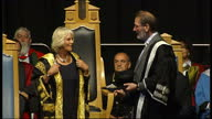 Interior shots of Camilla Duchess of Cornwall Rothesay being awarded position of Chancellor of Aberdeen University given a gown and taking seat on...