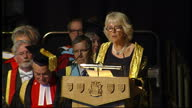 Interior shots of Camilla Duchess of Cornwall Rothesay making speech and thanking University for making her Chancellor before crowd giver her round...