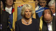 Interior shots of Camilla Duchess of Cornwall sitting on chair during ceremony Camilla Duchess of Cornwall in ceremony on June 10 2013 in Aberdeen...