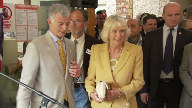 Interior shots of Camilla Duchess of Cornwall walk into room with crowd and press waiting before she walks onto stage to make a speech Camilla...