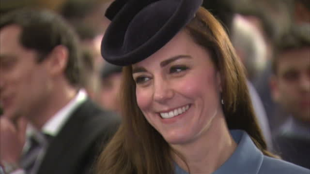 Interior shots of Catherine Duchess of Cambridge arriving at St Clement Danes Church for 60th anniversary of the Air Cadets on February 07 2016 in...