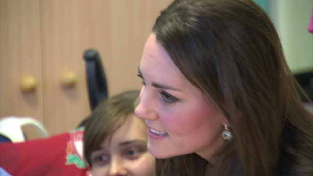 Interior shots of Catherine Duchess of Cambridge meeting children and staff at Shooting Stars House Children's Hospice Duchess of Cambridge visits...