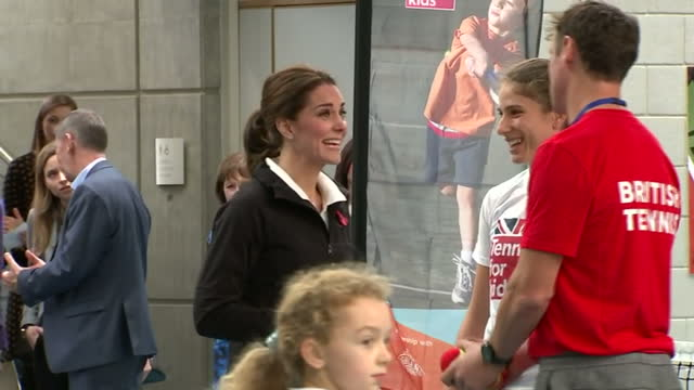 Interior shots of Catherine Duchess of Cambridge meeting Johanna Konta during a visit to the National Tennis Centre and speaking to coaches and a...