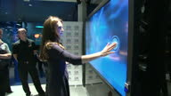 Interior shots of Catherine Duchess of Cambridge on a visit to GSK Human Performance Lab being shown a touchscreen monitor training aid on November...