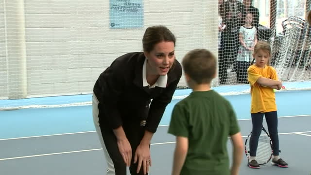 Interior shots of Catherine Duchess of Cambridge speaking to Johanna Konta and coaches during a visit to the National Tennis Centre before taking...