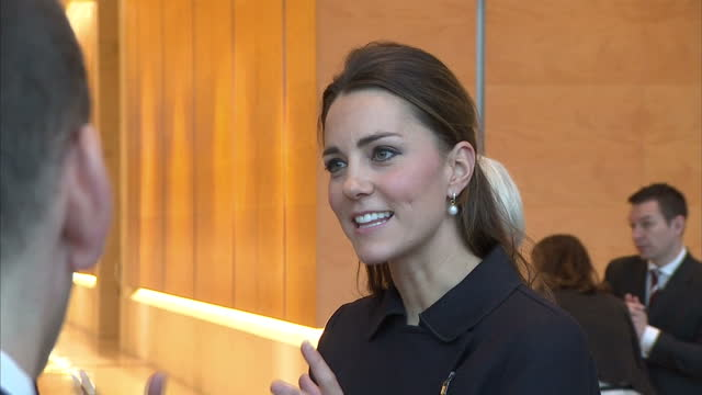 Interior shots of Catherine Duchess of Cambridge speaking to Place2Be charity officials and guests at the charity's 'Resilience and Emotional...