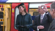 Interior shots of Catherine Duchess of Cambridge speaking to various London Underground workers smiling laughing and having a joke with them after...