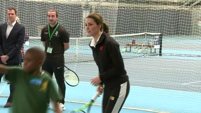 Interior shots of Catherine Duchess of Cambridge taking part in a Tennis for Kids session during a visit to the Lawn Tennis Association's National...