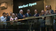 Interior shots of Chancellor George Osborne and Conservative Candidate for Mayor of London Zac Goldsmith opening the London Stock Exchange>> on May...