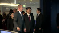 Interior shots of Chinese president Xi Jinping with Prince Andrew on a tour of communications company Inmarsat inspecting the control room on October...
