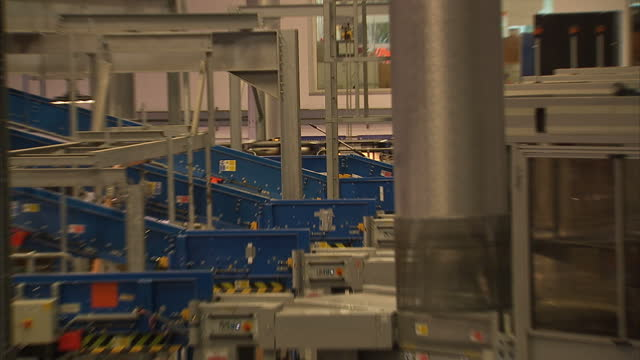 Interior shots of conveyor belts and post on sorting equipment in a Royal Mail sorting office on 3 October 2017 in Slough United Kingdom