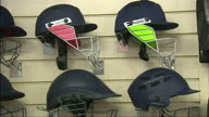 Interior shots of cricket helmets on display in a shop in Twickenham>> on November 25 2014 in Twickenham