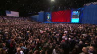 Interior shots of crowds of supporters at the ObamaBiden election night rally at McCormick Place in Chicago celebrating as results are announced...