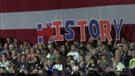 Interior shots of crowds of supporters cheering and waving American flags as Hillary Clinton addresses a victory rally in Brooklyn>> on June 07 2016...