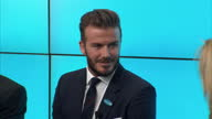 Interior shots of David Beckham arriving at UNICEF Press conference Beckham arrives and takes seat on stage on February 09 2015 in London United...