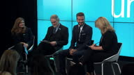 Interior shots of David Beckham sitting on stage at UNICEF press conference Interior cutaways of Beckham talking about experiences with UNICEF on...
