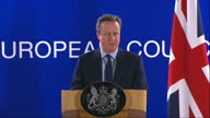 Interior shots of David Cameron speaking at a press conference following an EU council meeting talking about the discussions concerning the UK vote...