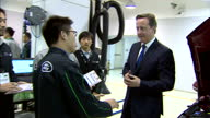 Interior shots of David Cameron speaking to Jaguar Land Rover trainee's mechanics at plant Cameron speaking with Jaguar Land Rover workers on...