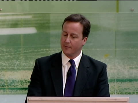 interior shots of David Cameron stating that he wants to reopen Britain for business as he makes a speech on the economy